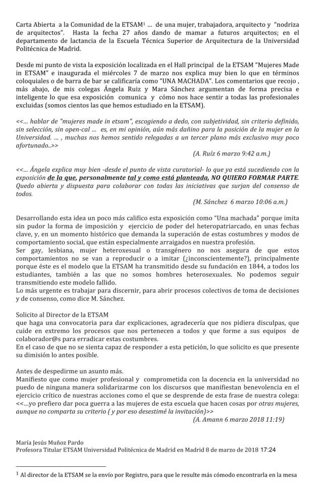Carta Abierta  a la Comunidad de la ETSAM
